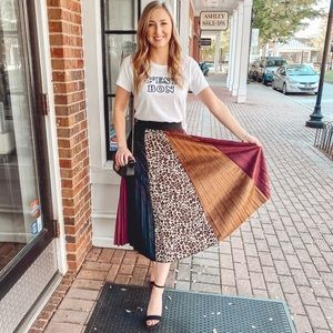 Leopard and suede skirt
